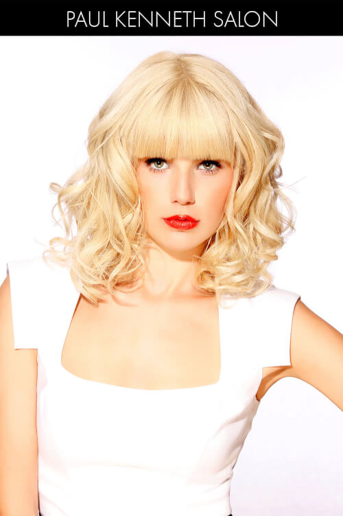 Platinum Hairstyle with Blunt Bangs