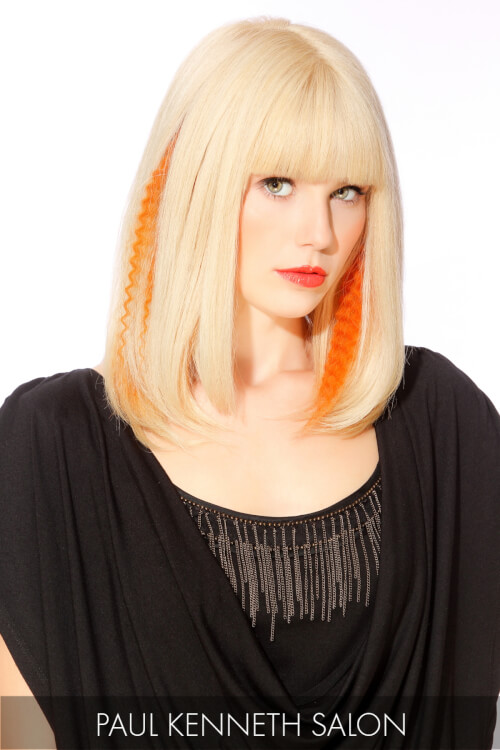 Blonde Hair Color with a Pop of Orange
