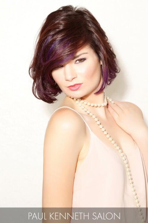 Dark Brown Hair with Violet Highlights