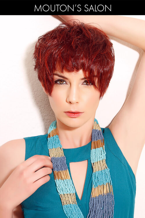 Bright Red Hair Color on Cropped Hair