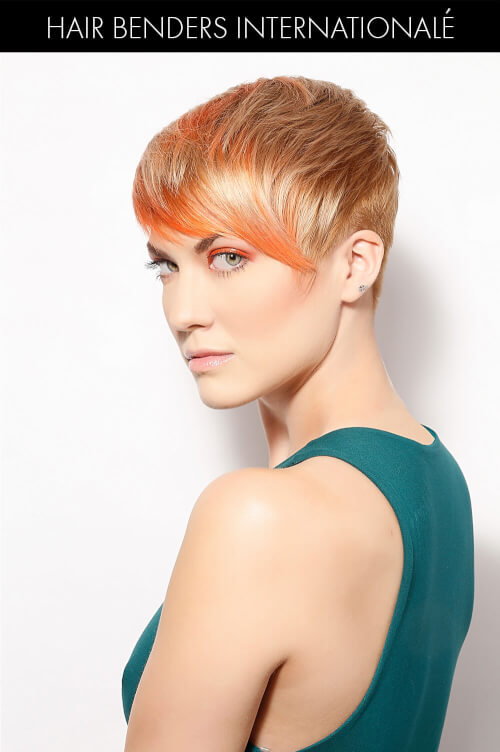 Blonde Hair Color with Peach Highlights