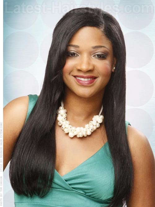 Black hairstyle for long straight hair