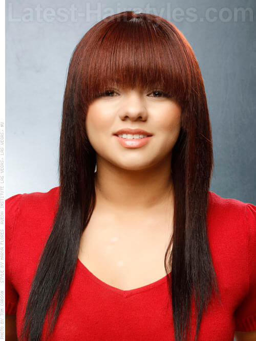 Cherry Cola Brown Hair Color With Highlights Cherry cola long style with