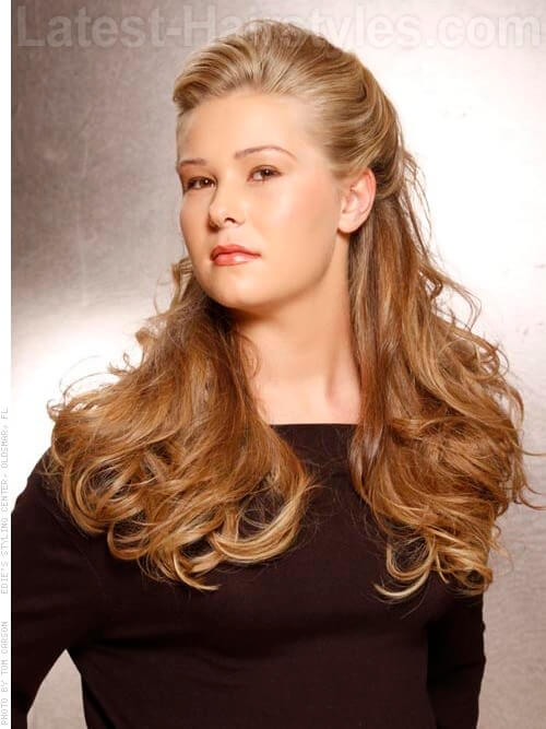 Lovely Natural Flowing Ombre Half Updo