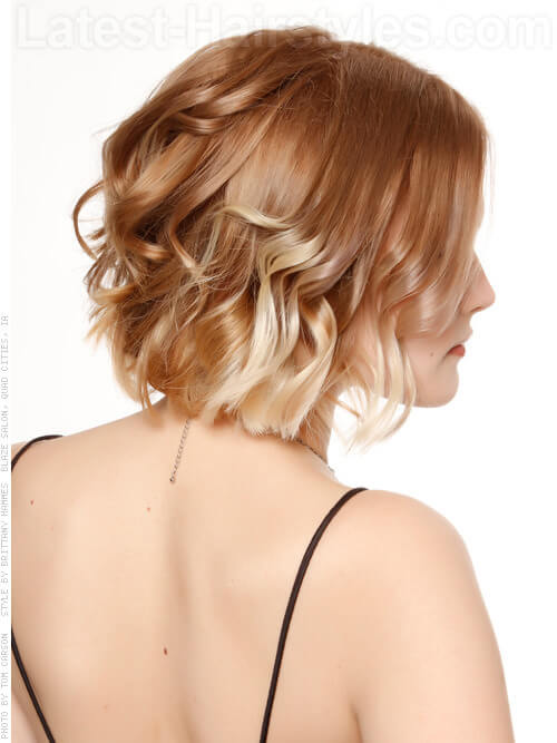 Ombre Hair Color Style with Short Waves Side View