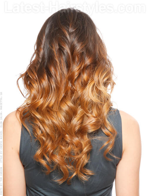 Soft Caramel Dream Ombre Hair Color Back View