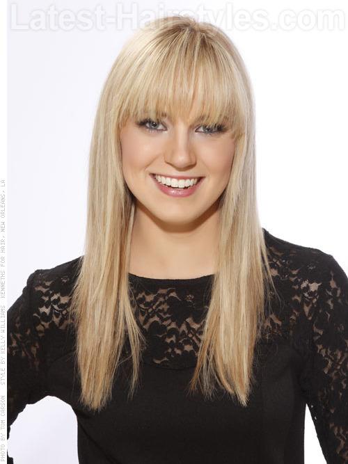 California blonde hair color and long sleek hair