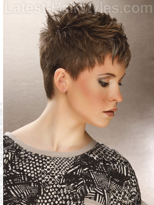 Short Choppy Hairstyles In Ash Blonde Pixie Style - View 2