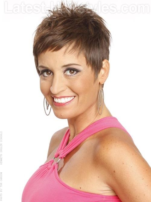 Choppy Brunette Pixie Sideswept Bangs