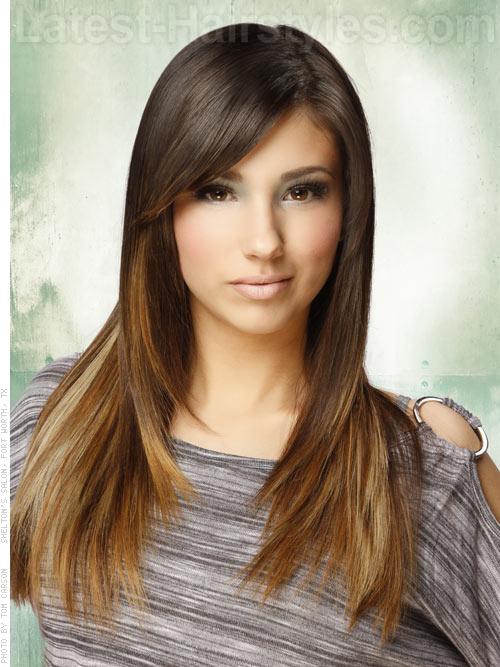 A long sleek brunette hairstyle