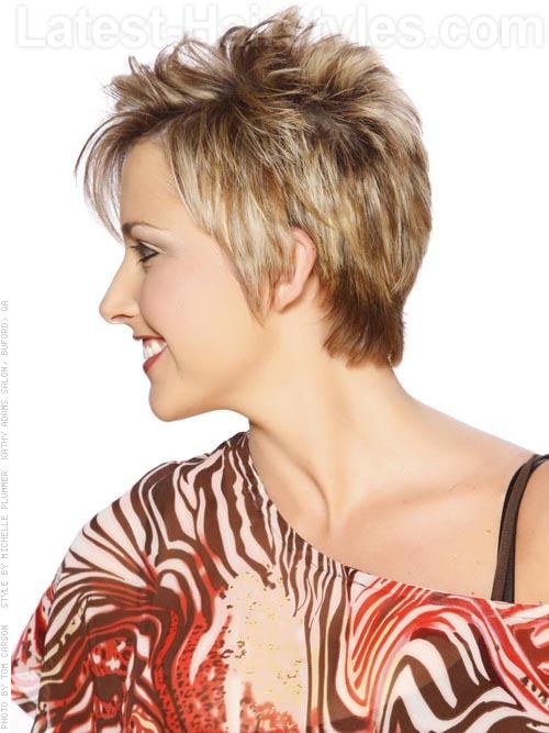 Cute Choppy Hairstyles In Blonde Pixie Side View