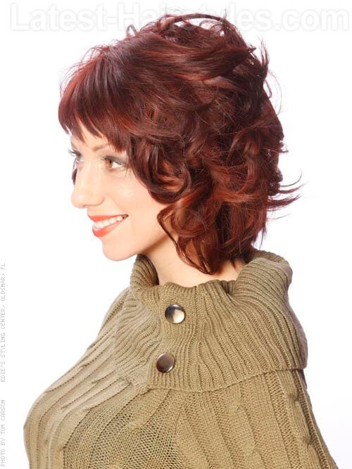 textured medium curly hairstyle side