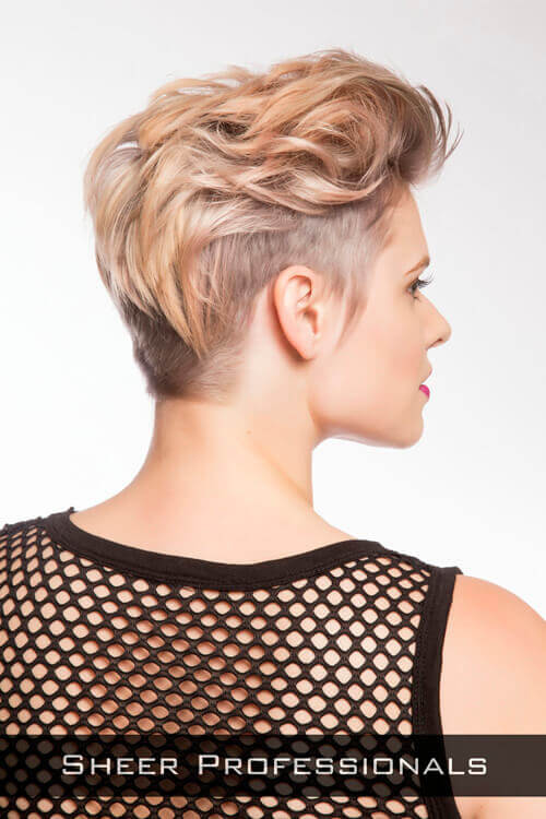 Short Edgy Layered Hairstyle Back