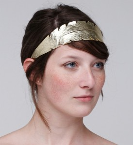 a feather leather headband