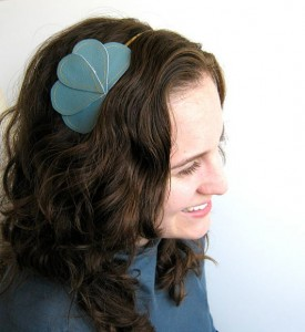 blue vegan leather headband