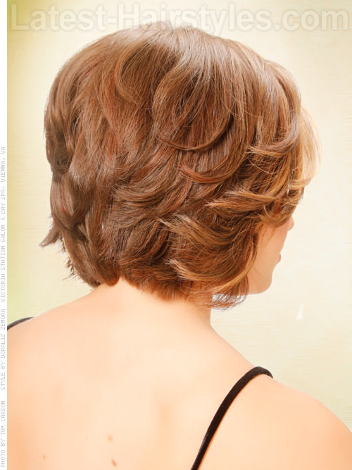 Bob Hairstyle with Waves and Short Layers Back View
