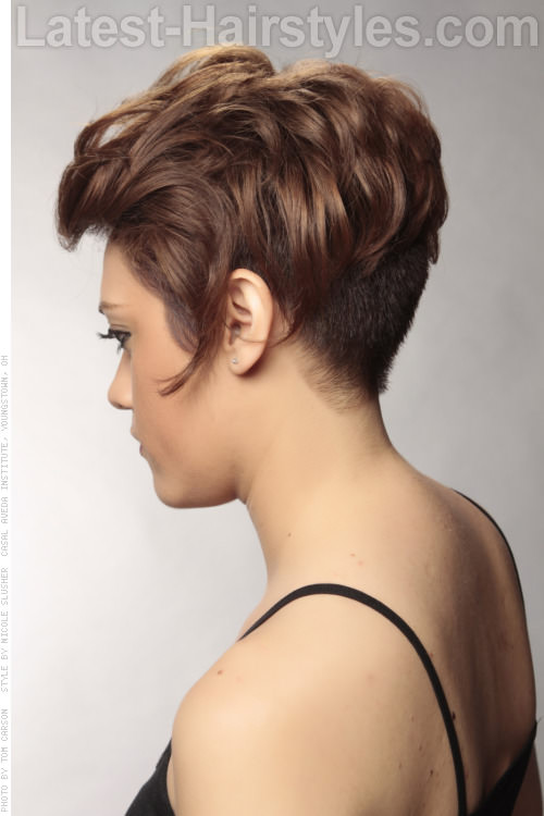 Short Asymmetric Haircut with Waves Side View