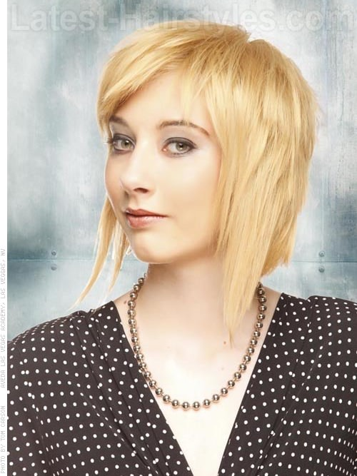 Boxy blonde medium length bob hairstyle
