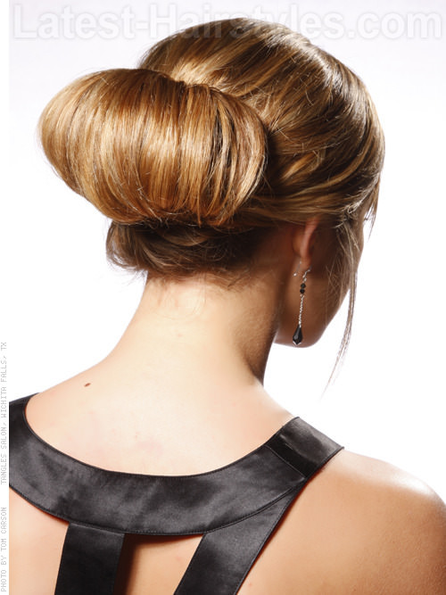 Chignon Cute Style with Bangs Back View