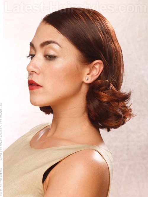 A classic medium layered bob for oval faces side view