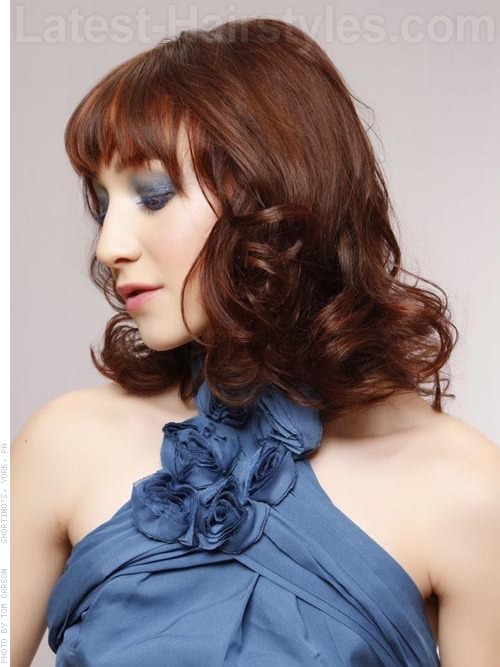 Curved and Curly Medium Look with Bangs Side View