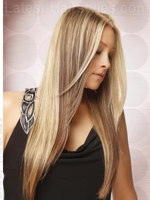 Long Blonde Hair With Face Shaping Layers