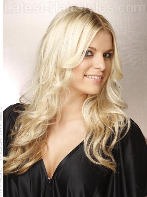 Long Hairstyles for Square Faces Blonde Layered Hair - Profile View