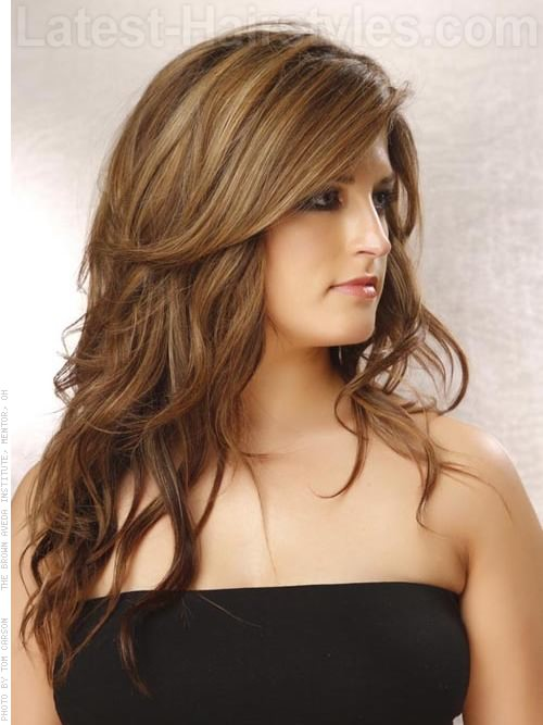 Long Brown Hair with Layers and Highlights
