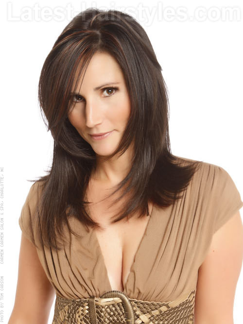 Sleek Long Hairstyles for Square Faces Layered Shag - Brunette