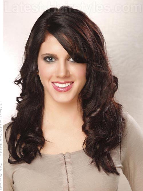 Brunette Hair with Side Bangs
