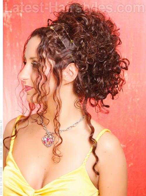 pinned long curly hair