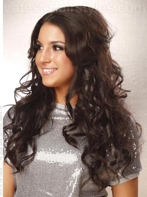 Long Hairstyles for Square Faces Brunette Layers and Waves - Side View
