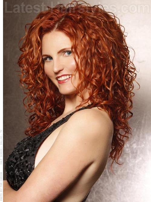 Rich Auburn Curly Style - Long Hairstyles for Square Faces