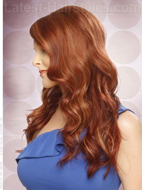 Long Side Swept Red Hair For Round Face - View 2
