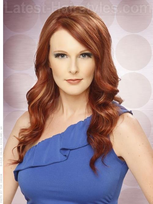 Long Side Swept Red hair For Round Face
