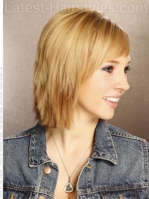 A medium bob for oval face shape side view