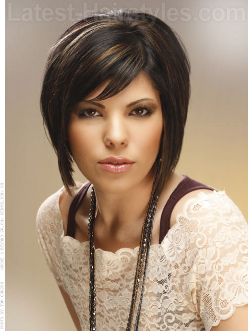 Brunette medium length bob hairstyles with highlights