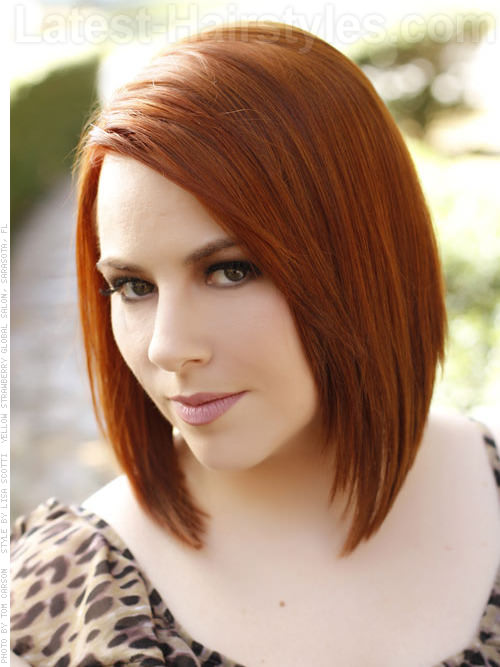 casual red medium length bob hairstyle