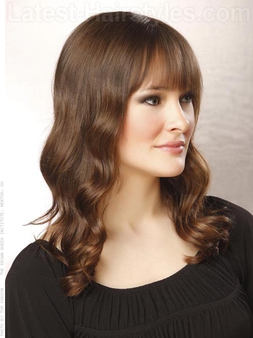 Medium length hollywood inspired waves side angle