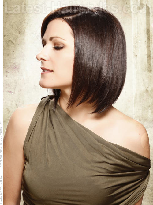 smooth deep brunette medium length bob hairstyle- View 2
