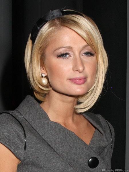 Paris Hilton with a medium length hairstyle