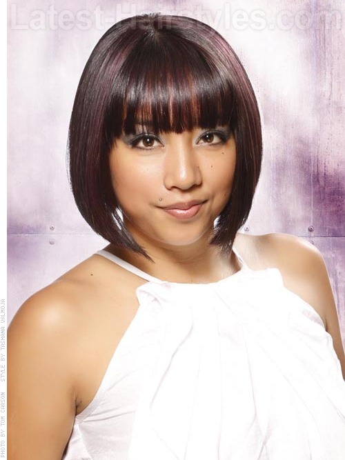 A short bob hairstyle with bangs