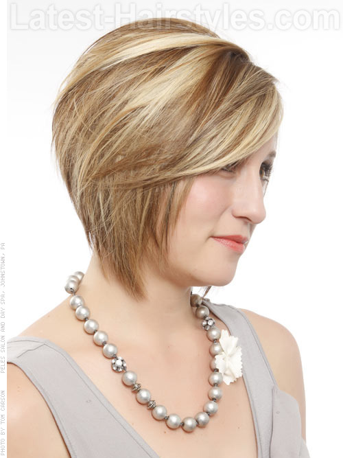 A short chin length bob hairstyle side angle