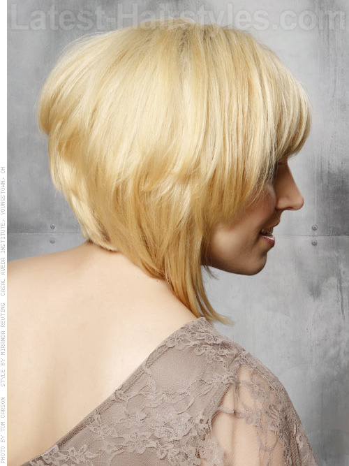 A short choppy angled bob haircut side angle