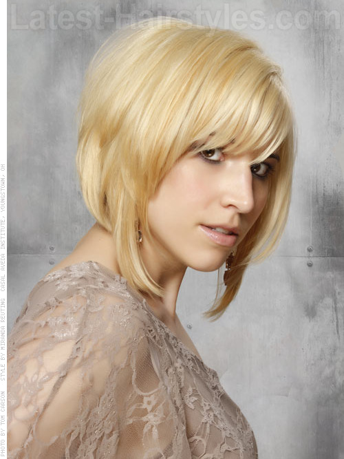 A short choppy angled bob hairstyle