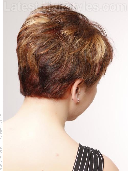 A short pixie haircut back angle
