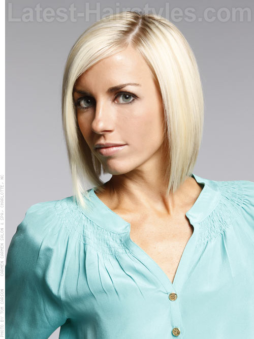 A short straight a-line bob hairstyle