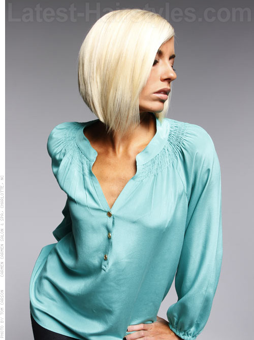 A short straight a-line bob hairstyle angle