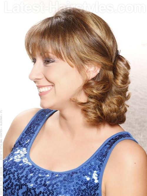 Side and Low Medium Style with Bangs Side View