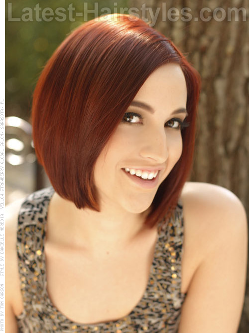 Sleek short bob hairstyles with red hair color